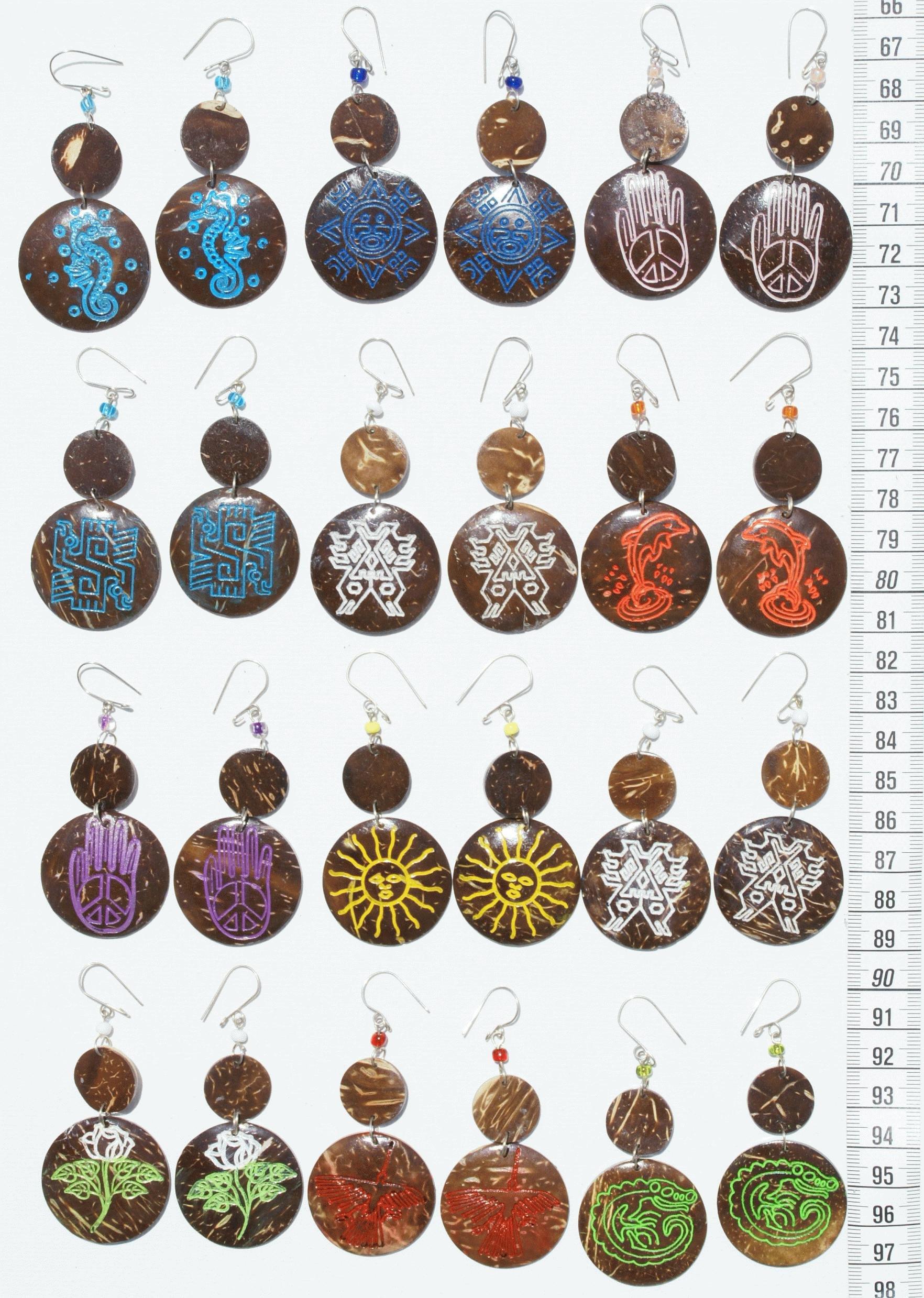 Πολλές 6 ζευγάρια γύρο καρύδας σκουλαρίκια με ethnic διακοσμητικά είδη f2dce3b566c