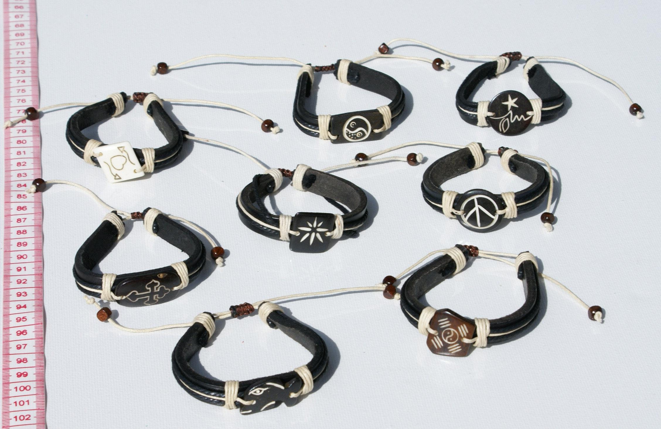 Πολλές 7 artisan μαύρη δερμάτινη μανσέτα βραχιόλια χειροποίητα κοσμήματα 20c6239666d
